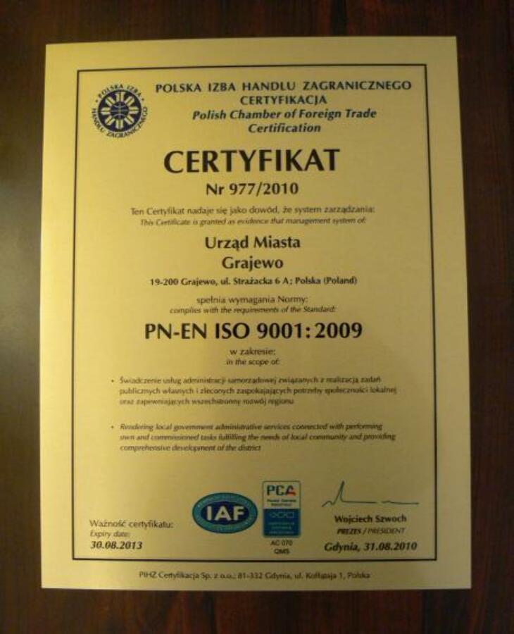 UM Grajewo z certyfikatem ISO