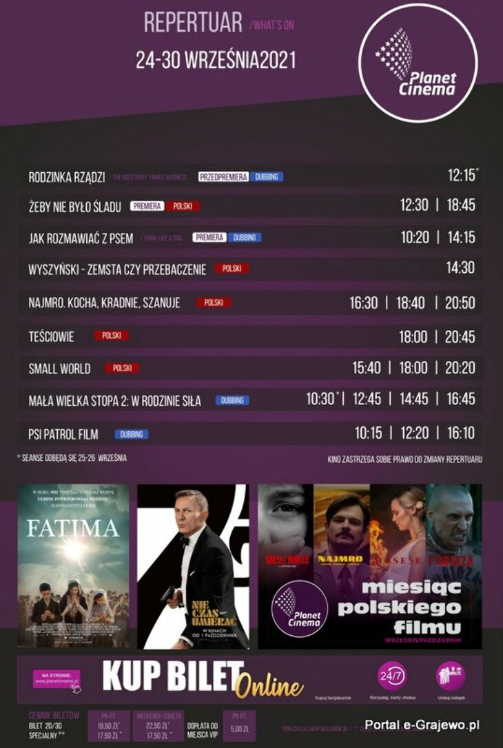 Planet Cinema Ełk - repertuar 24-30.09.21 r.