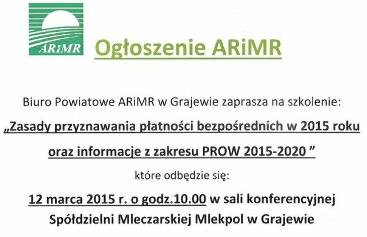 Ogłoszenie ARiMR