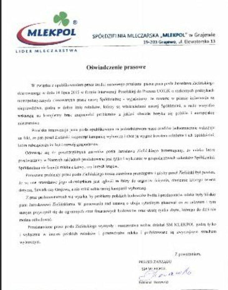 SM Mlekpol - oświadczenie