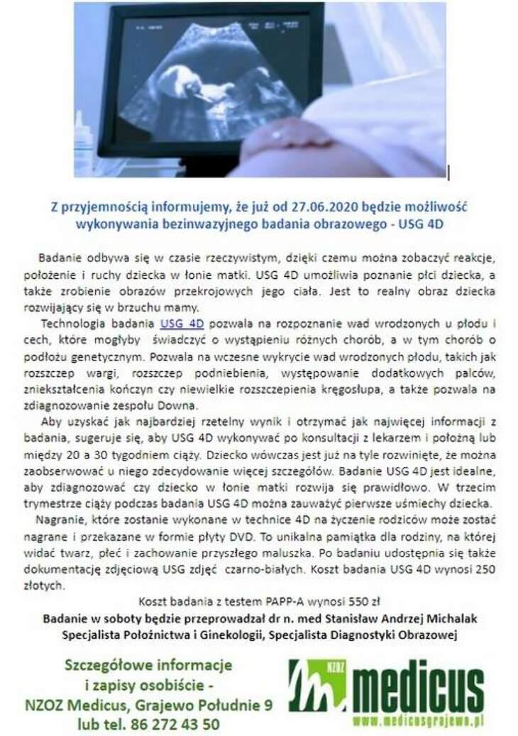 Nowość w Medicusie - USG 4D
