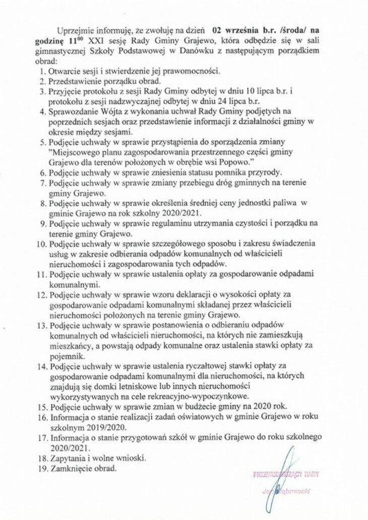 Sesja Rady Gminy Grajewo (2.09)