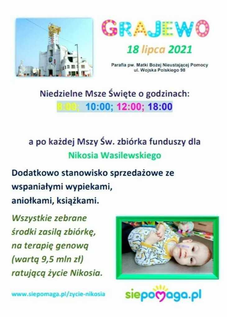 Kiermasz charytatywny dla Nikosia Wasilewskiego chorującego na SMA 1