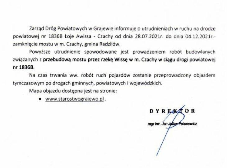 Utrudnienia w ruchu w związku z przebudową mostu w m. Czachy gm. Radziłów