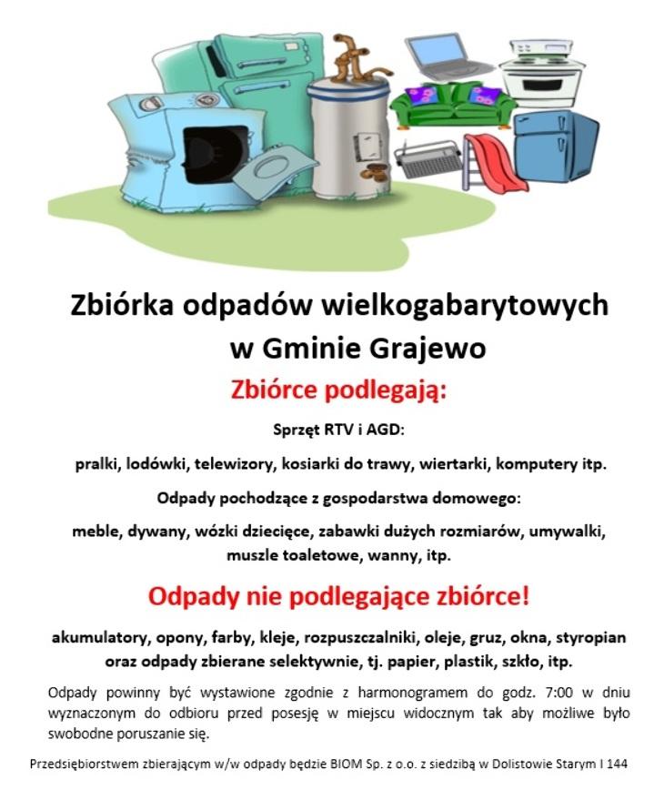 Zbiórka odpadów wielkogabarytowych w Gminie Grajewo