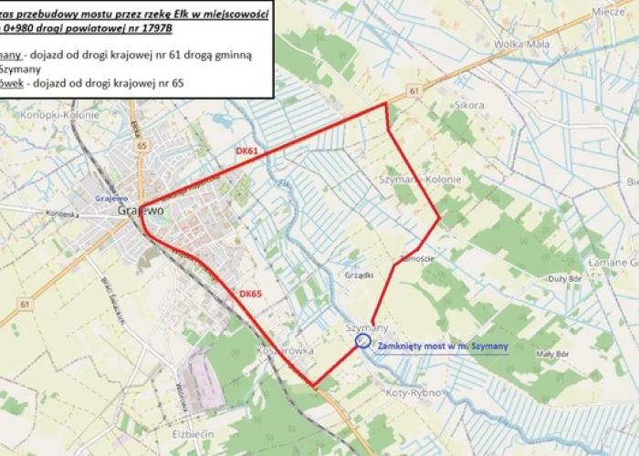 Utrudnienia w ruchu na drodze powiatowej Koszarówka - Szymany