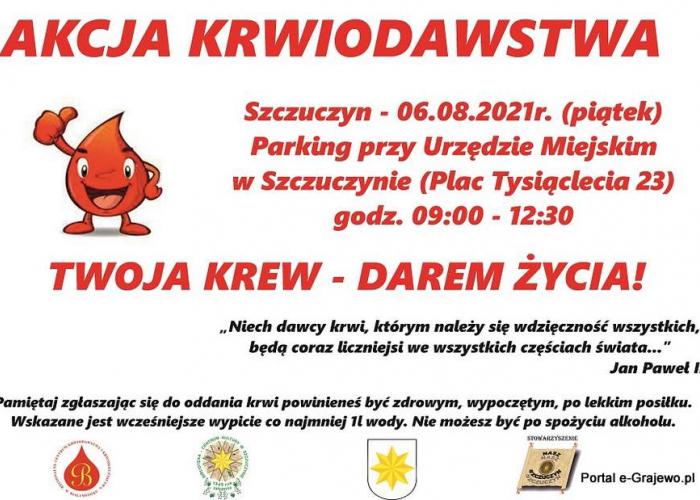 Szczuczyn: Akcja krwiodawstwa - pl. Tysiąclecia w Szczuczynie (6.08)