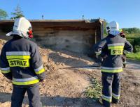 Trasa Ełk-Grajewo już przejezdna po przewróceniu się ciężarówki