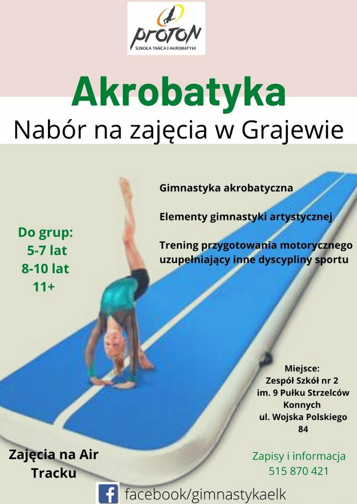 Akrobatyka - nabór na zajęcia w Grajewie!