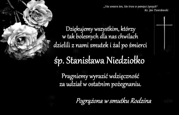 Podziękowania rodziny zmarłego Stanisława Niedziołko