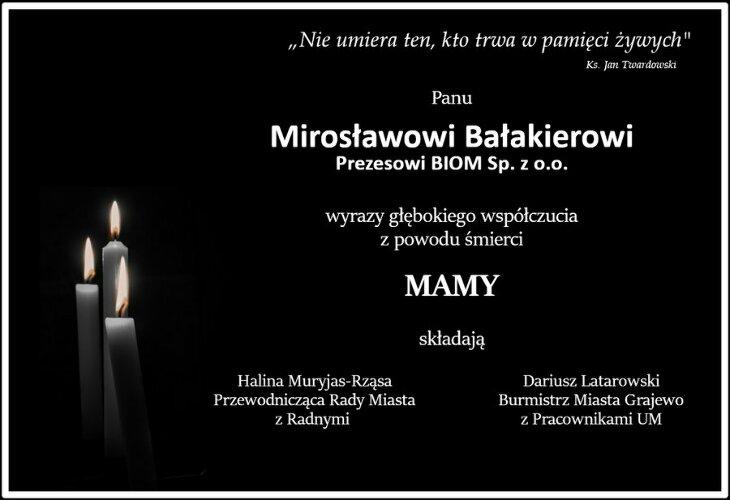 Kondolencje P. Mirosławowi Bałakierowi