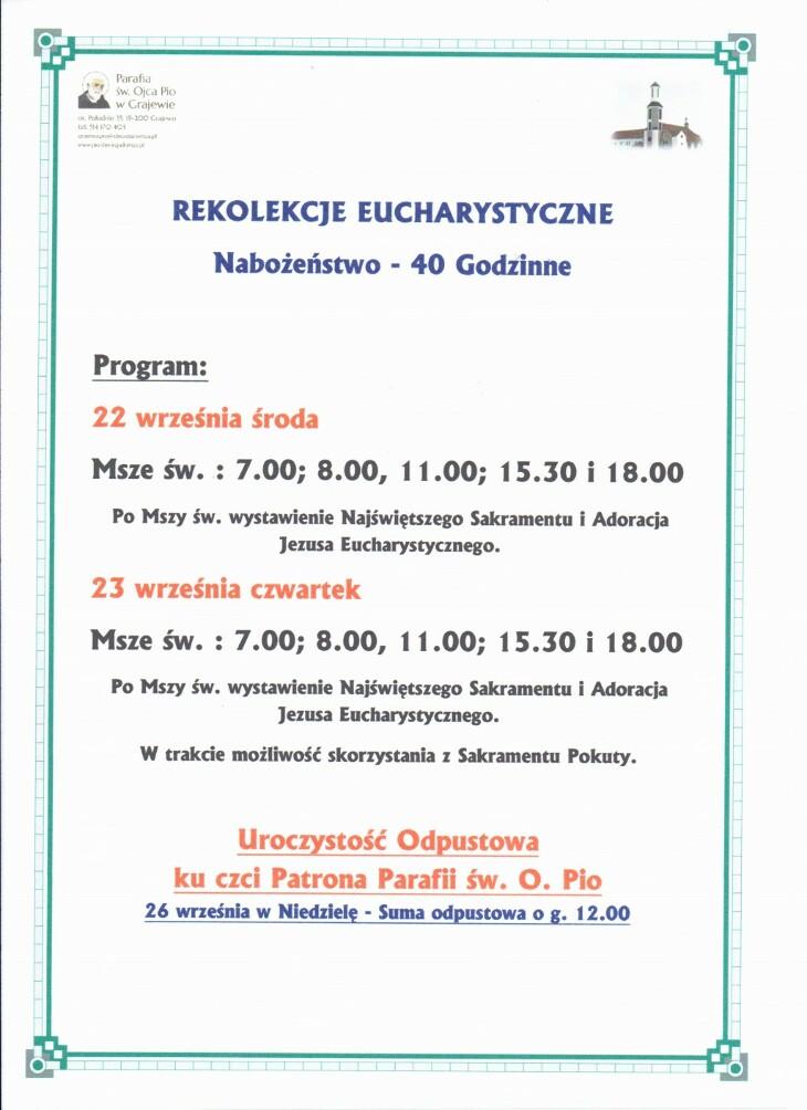 Zapraszamy na Rekolekcje Eucharystyczne - nabożeństwo 40-godzinne
