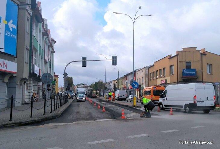 Prace drogowe w okolicy głównego skrzyżowania