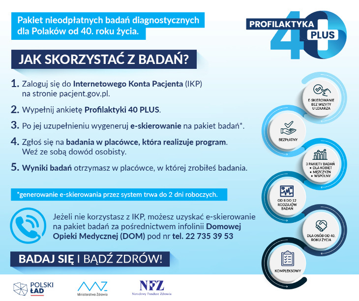 Profilaktyka 40 PLUS - pakiet bezpłatnych badań