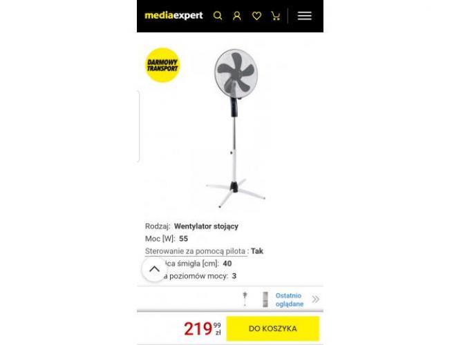 Grajewo ogłoszenia: Sprzedam używany  w idealnym stanie wentylator wiatrak stojacy...